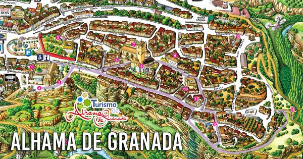 Mapa Alhama De Granada.Mapa Turistico Alhama De Granada Tourist Map Alhama De Granada Alhama De Granada